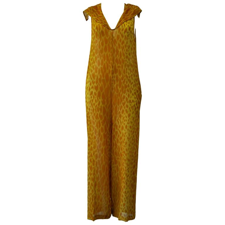 Gianni Versace Couture Sheer Giraffe Print Silk Jumpsuit 1