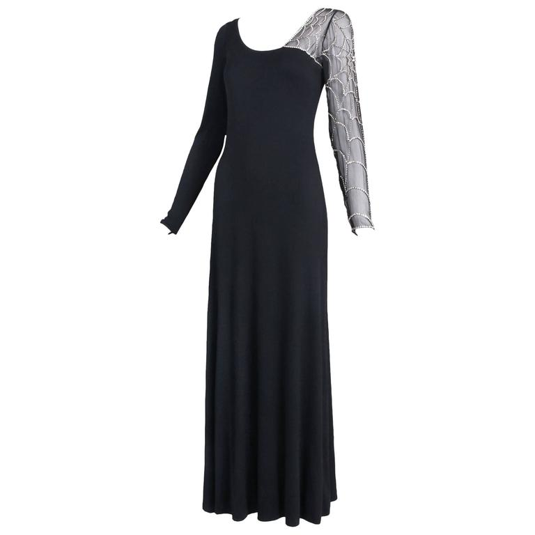 Mollie Parnis Black Silk Jersey Evening Dress Gown w/Beaded Spiderweb Sleeves 1