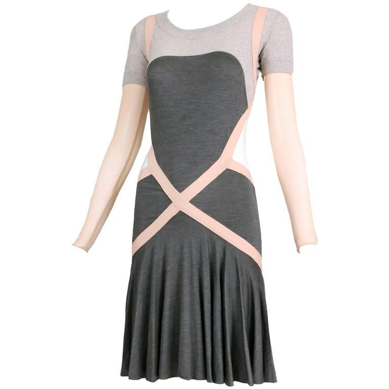 2003 Alexander Mcqueen Jersey Criss Cross Dress Wlow Back At 1Stdibs-5725