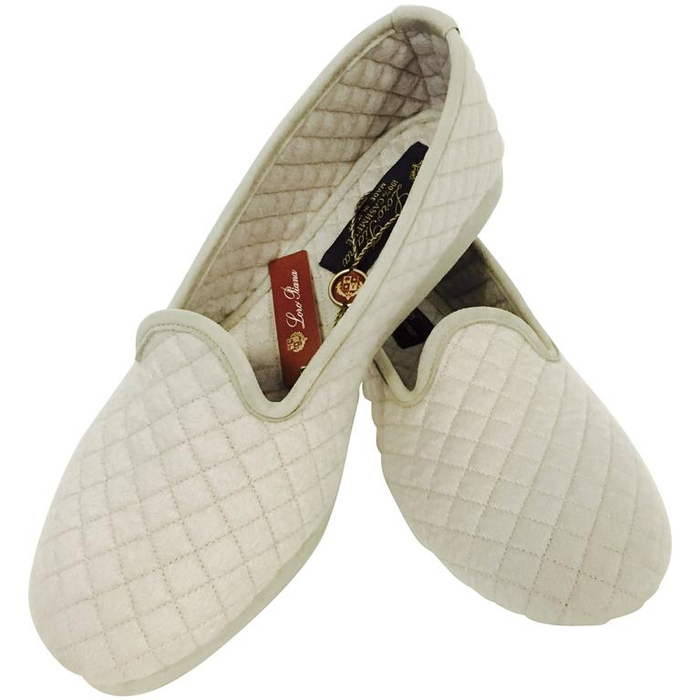 Loro Piana Tan Cashmere Diamond Quilted Slippers New In