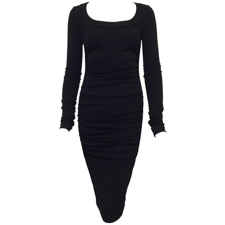 Dolce and Gabbana Black Long Sleeve Stretch Ruched Sheath