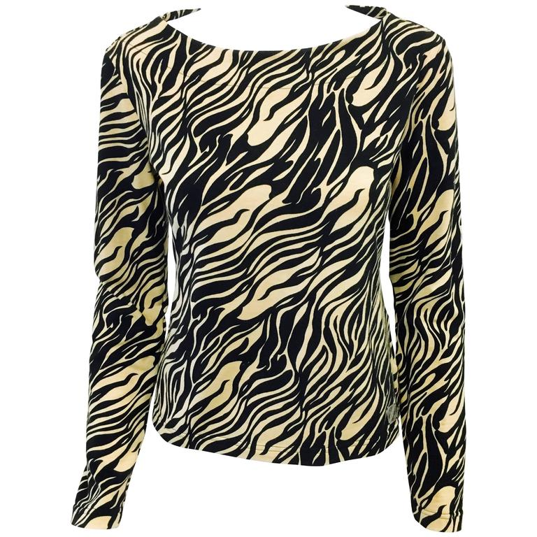 Versace Jeans Couture Cotton Safari Animal Print Long Sleeve Top