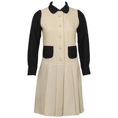 1960's Ungaro Parallele-Paris Black and Cream Drop-Waist Dress