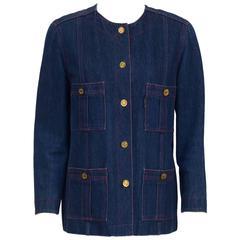 1980's Chanel Collarless Denim Jacket