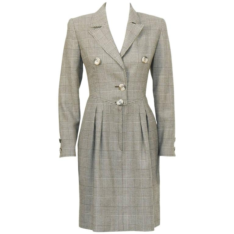 1980's Valentino Brown Glen Check Wool Dress