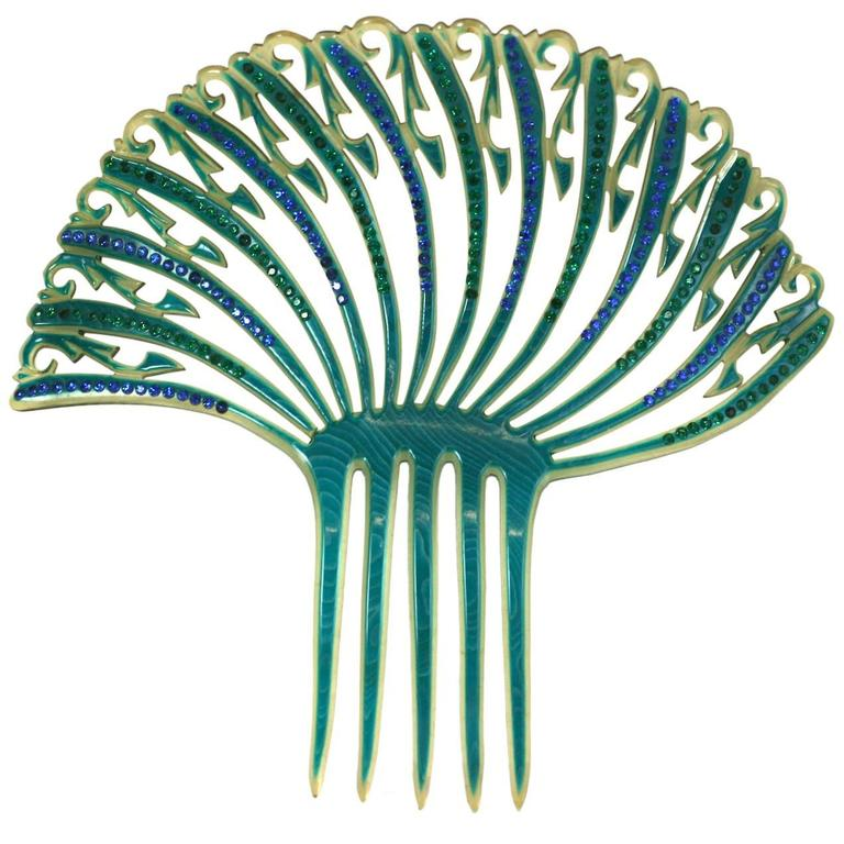 Art Deco French Comb with Green and Blue Pastes