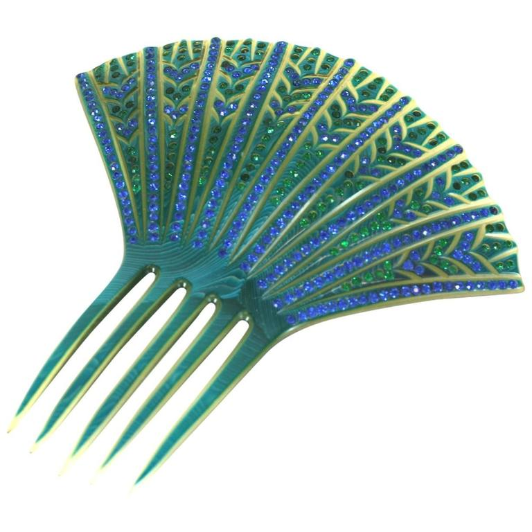Elaborate French Art Deco Paste Comb For Sale