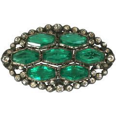 Faux Emerald Art Deco Paste Brooch