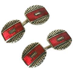 Art Deco Red Enamel Cufflinks