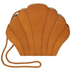 "Renaud Pelligrino Leather ""Clam"" Clutch"