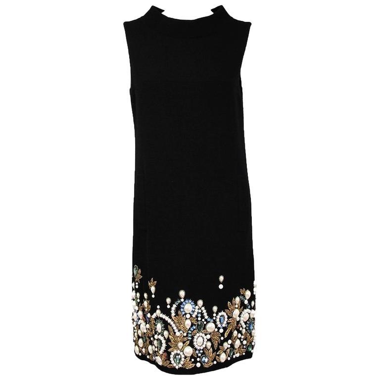Oscar De La Renta Black Wool Cocktail Dress with Gem Embroidery size 6 1