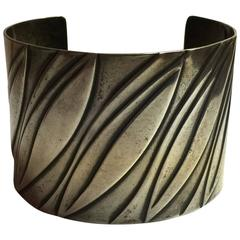 1950s Sterling REBAJES Cuff Bracelet Modernist Leaves Design