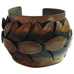 1950s REBAJES Copper WIDE Cuff Bracelet Stylized Leaves Bronze Tone
