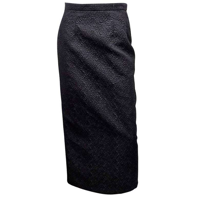 Comme De Garcons Long pencil  black embroidered / quilted skirt