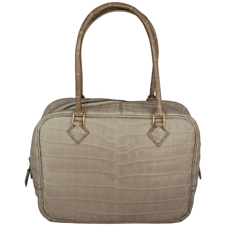 Hermes Beige Crocodile 20cm Plume Handbag - GHW - 2003 For Sale