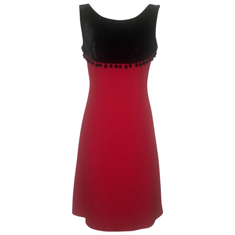 c90bc6f7d25 Moschino Cheap and Chic Black and Red Velvet Top Sleeveless Pom Pom Dress  1990s For Sale