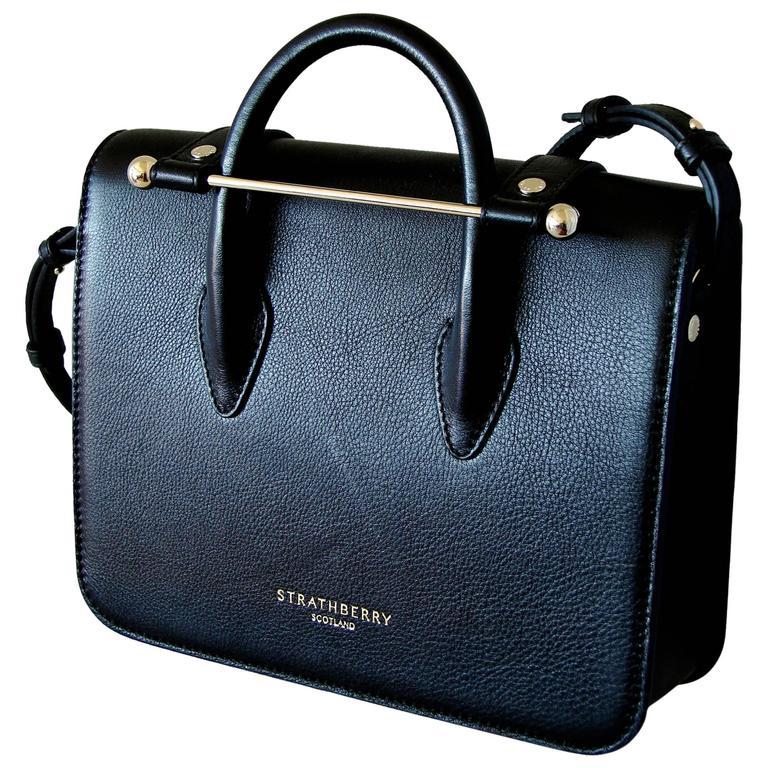 Strathberry Scotland Mc Mini Tote Black Leather New Box