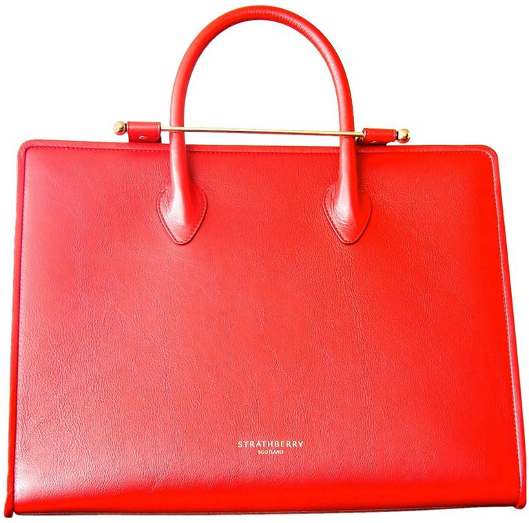 Strathberry Scotland Ruby Leather Tote Bag With Shoulder