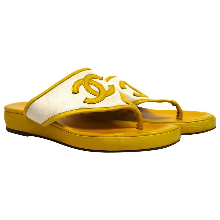 80s Chanel Yellow Leather Sandals  1