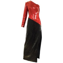 Vintage 1980s Bill Blass Red and Black One Shoulder Sequin Gown