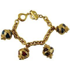 Yves Saint Laurent YSL Vintage Russian Style Enamel Charm Bracelet
