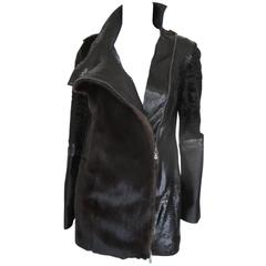 extraordinairy black snake leather mink/persian lamb fur coat