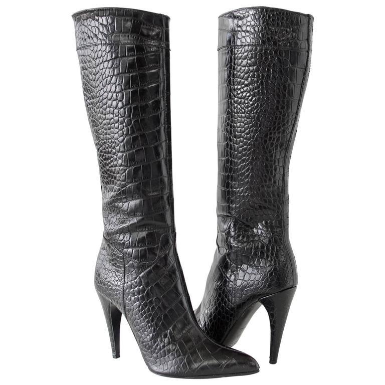 Prada Crocodile Knee-High Boots cheap for cheap PgKo3hSAEj