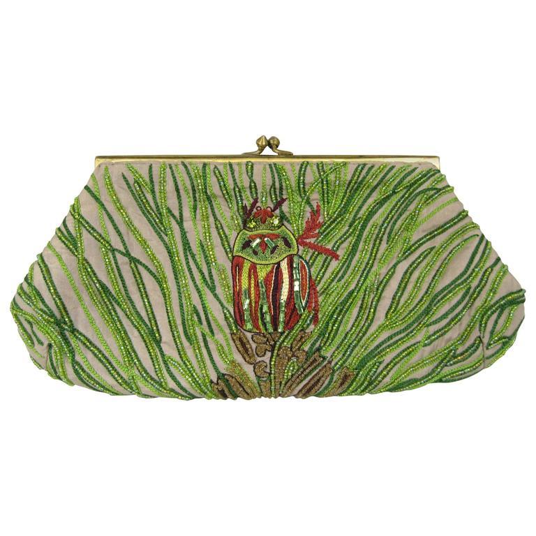 Green Beaded Art Deco Inspired Owl Silk Handbag Clutch