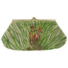Green Beaded Art Deco Inspired Owl Silk Handbag Clutch