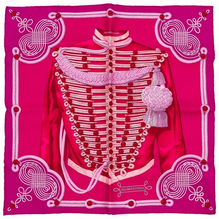 Hermès PInk Brandebourg Silk Pouchette Scarf