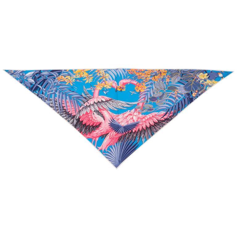 Hermès Flamingo Jersey Triangular Scarf