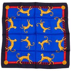Lanvin Blue Cat Silk Twill Scarf