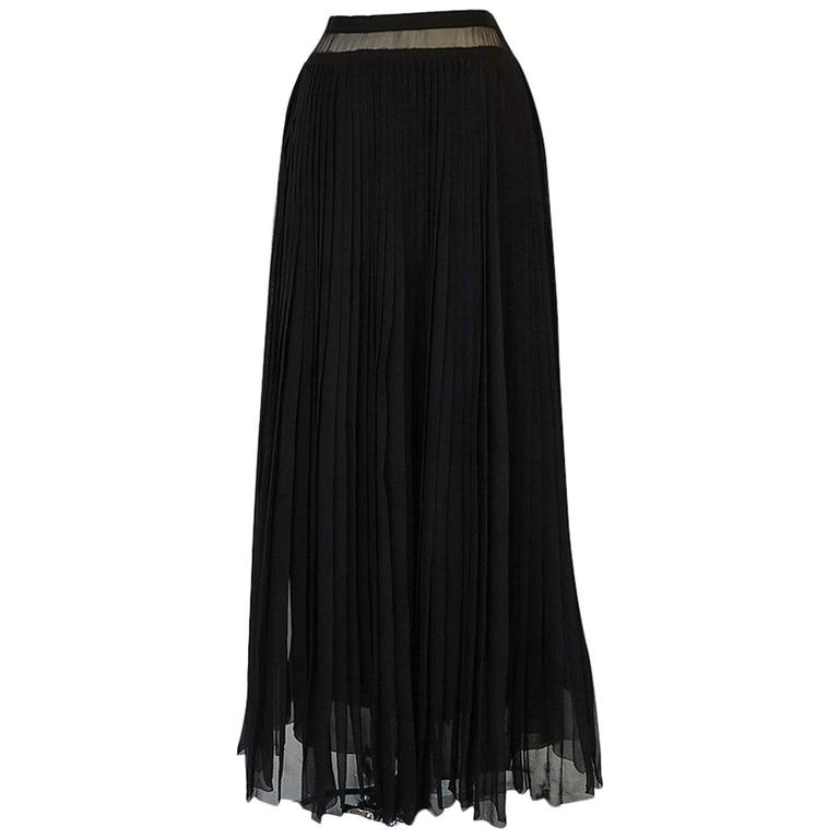 Christian Dior Haute Couture Black Silk Chiffon Skirt, 1970s
