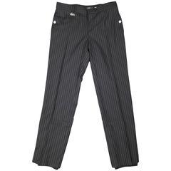 KRIS VAN ASSCHE Size 32 Navy Pinstripe Wool Elastic Cuff Dress Pants