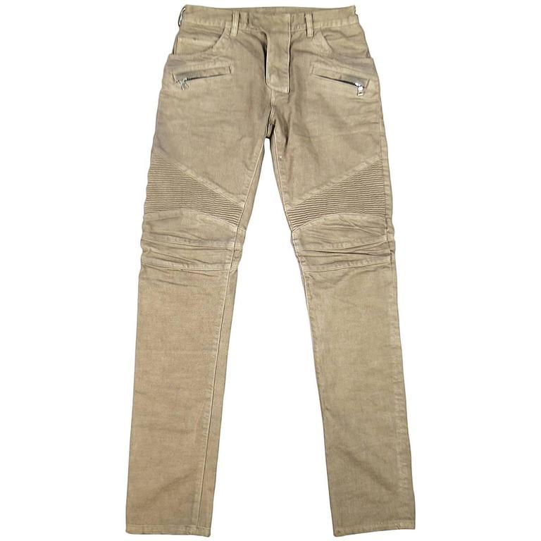 BALMAIN Size 32 Taupe Denim Ribbed Moto Jeans For Sale