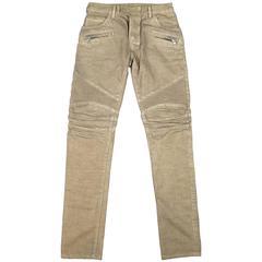BALMAIN Size 32 Taupe Denim Ribbed Moto Jeans