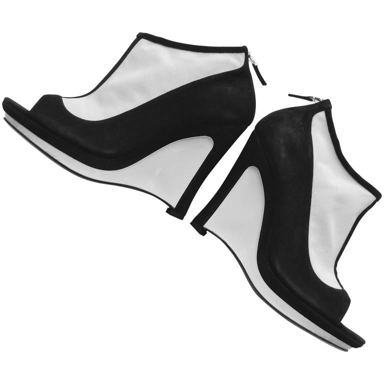 Fendi Black And White Platform Wedges.