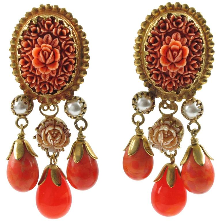 Vintage French Gas St Tropez dangling clip on earrings glass drop faux coral 1