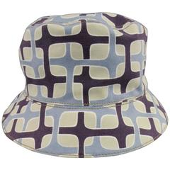 PRADA Size L Light Blue Khaki & Brown Mod Print Canvas Bucket Hat