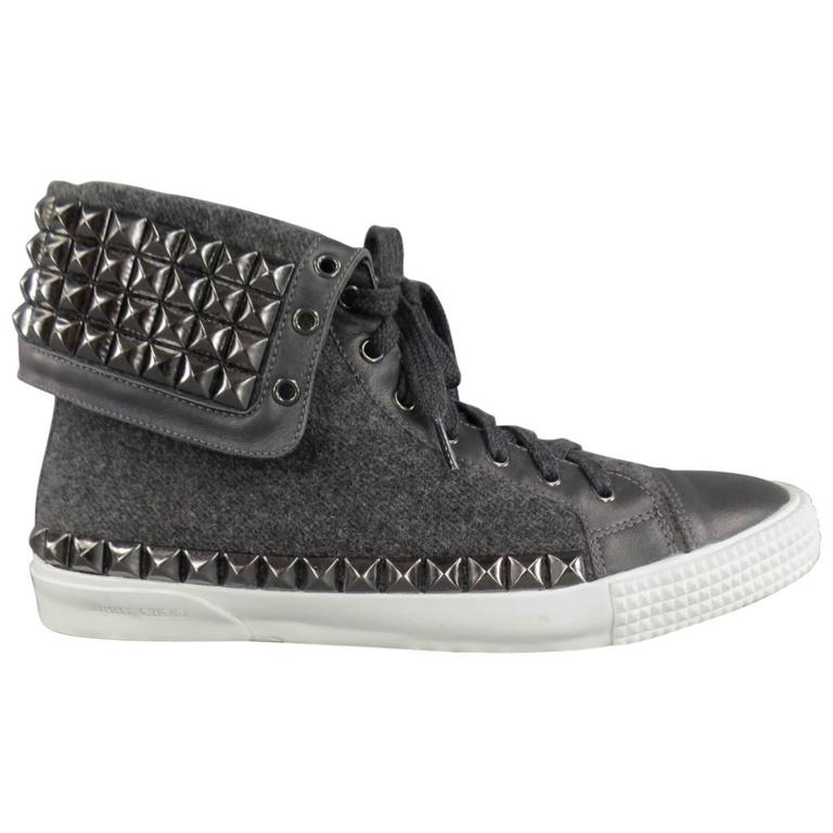 Jimmy Choo Spencer Charcoal Wool Studded Flap High Top Men's Sneaker, Size 12