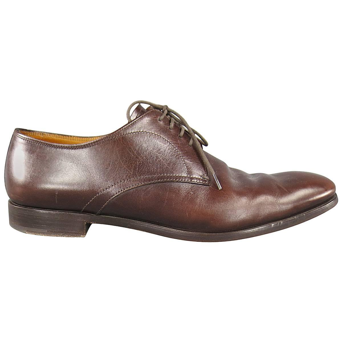 prada size 11 5 brown leather lace up dress shoes at 1stdibs