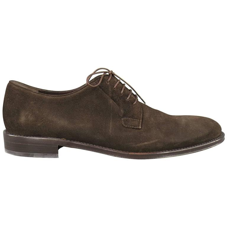 salvatore ferragamo size 11 brown suede derby lace up