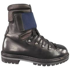 LANVIN Size 8 Black Leather Navy Strap Tall Mountain Boots
