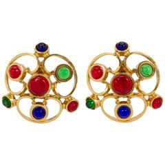 70's Chanel Oversize Multicolor Gripoix Clip Earrings