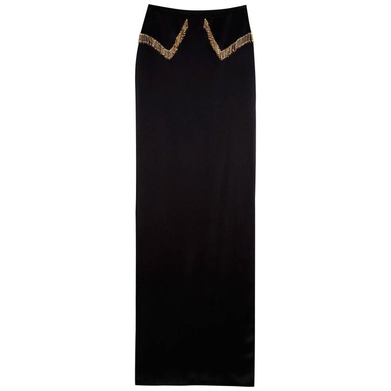 VERSACE Black Beaded Floor Length Skirt with High Slit