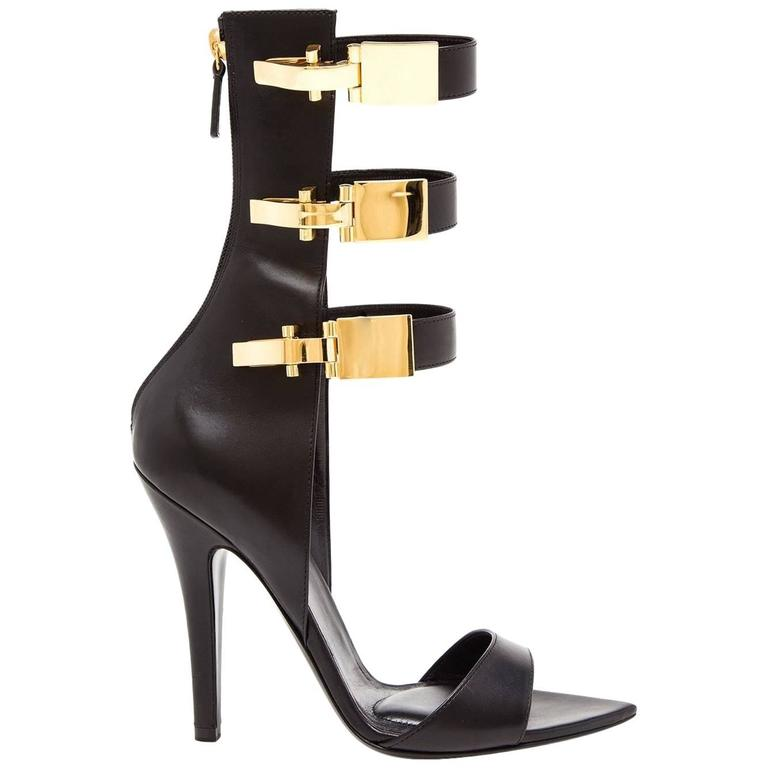 Versus x Anthony Vaccarello Black Leather Edition Sandals  1