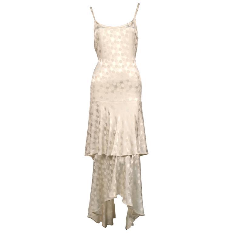 Yves Saint Laurent haute couture cream silk damask dress, 1970s