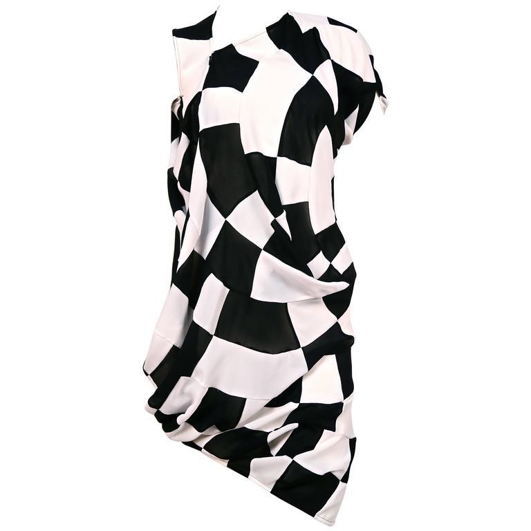 JUNYA WATANABE COMME DES GARCONS checkered & draped runway dress