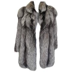 beautiful soft silver fox fur coat