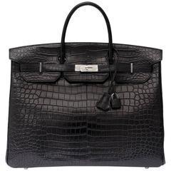 Brand New Rare Hermes 40cm Birkin Black Matte Crocodile Porosus